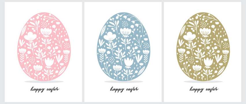 Happy Easter Vector Cards. Cute Eggs in 3 Diferent Colors Isolated on a White Background.Pink,Blue and Green Eggs with and Drawn Floral Ornament Inside.Easter Illustrations for Card,Greeting,Wall Art.