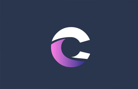 pink alphabet blue C letter logo design icon for company business