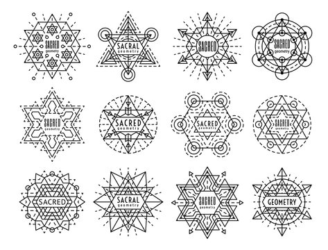 Sacred geometry style symbol set. Sacral geometric outline signs isolated on the white background. Line art occult design elements. Esoteric emblem concept. EPS 10 vector linear illustration.