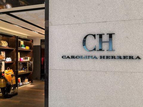 "Seoul, South Korea- April 12, 2019: CH Carolina Herrera  storefront in Seoul, South Korea. Carolina Herrera is a Venezuelan fashion designer known for ""exceptional personal style"""