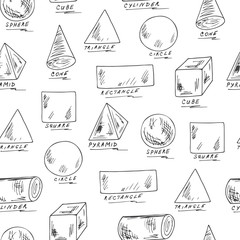 Vector Seamless pattern of Basic Geometric Shapes with Captions. Hand Drawn Doodles illustration