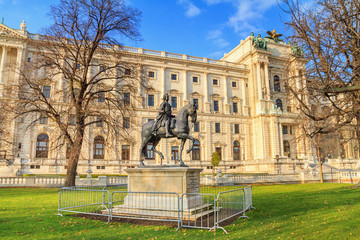 Garden Poster Vienna City landscape - view of the equestrian statue of the Emperor Franz Stephan of Lorraine in front Neue Burg (New castle) of Hofburg in the city of Vienna, Austria