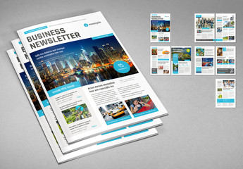 Business Newsletter Layout with Cyan Accents