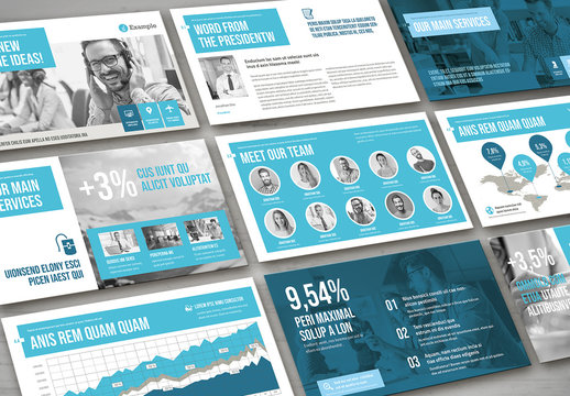 Light Gray and Blue Presentation Pitch Deck Layout