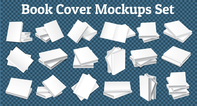 A large set of hardcover book mockup. Layout for publishing and advertising print products. In different perspectives 3D image. Isolated. Vector.