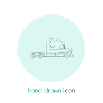 Semi truck icon line element. Vector illustration of semi truck icon line isolated on clean background for your web mobile app logo design.