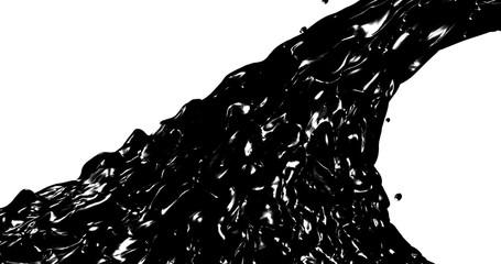 Abstract black flow . Oil Fluid texture. 3D rendering