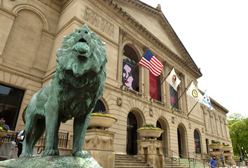 Chicago, USA - June 05, 2018: Lion sculpture front of the Art Institute of Chicago.