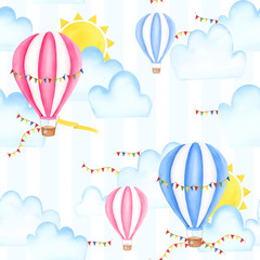 Seamless pattern with hot-air balloons, watercolor painting. For design cards, bankers, textile