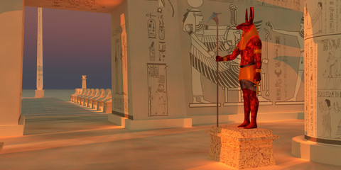 Seth God Statue - A statue of the god Seth stands in an Egyptian temple fronted by a tall obelisk and a row of sphinx.