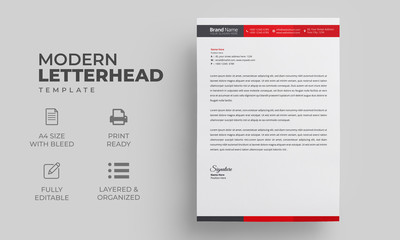 Letterhead Design Template with Red Elements