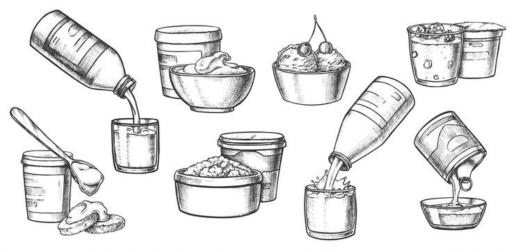 Dairy milk products, cheese, yogurt sketch icons