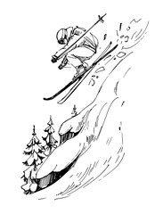Sketch of mountains and skier. Hand drawn illustration converted to vector
