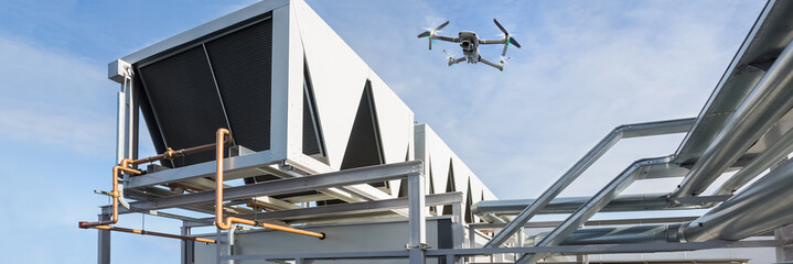 Equipment monitoring by Drone over pipes of ventilation system