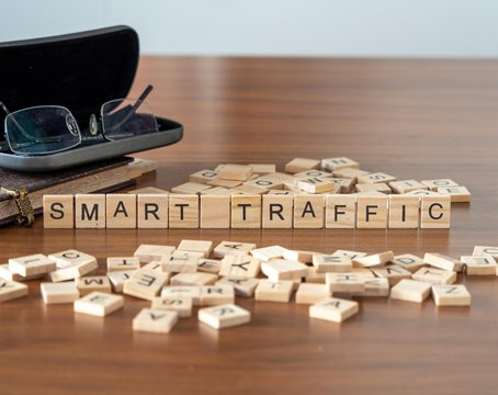 smart traffic the word or concept represented by wooden letter tiles