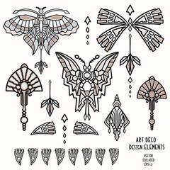Vintage Art Deco Butterfly and Jewel Vector Motif Set. Stylised 1920s style Geometric  Design Element. Hand Drawn Ornate Classic Wings, Flourish, Filigree Graphic Ornamental Flourish Clip Art. Eps 10