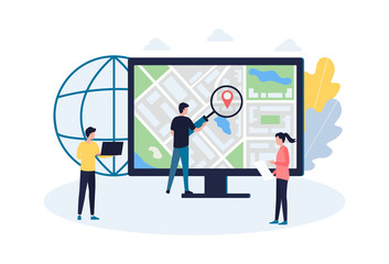 The concept of local SEO promotion, market research and competitor analysis. The work of the marketing department, analytics, data collection, delivery logistics, cost reduction. Flat vector illustrat