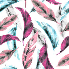 Seamless pattern of bird feathers. Watercolor illustration on a white background.