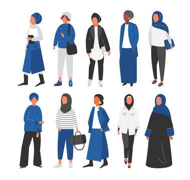 Hijab Muslim Woman set. Covered arab islamic fashion. Vector people.