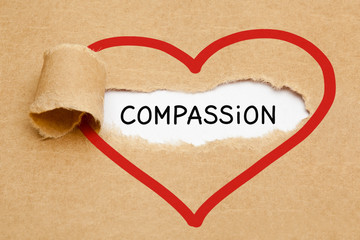 Word Compassion Heart Torn Paper Concept
