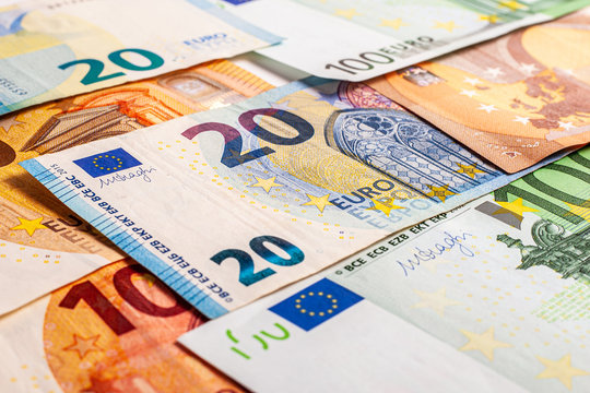 Euro money – Euro cash background. Background from several euro paper cash. Banknote texture. Financial concept of money.