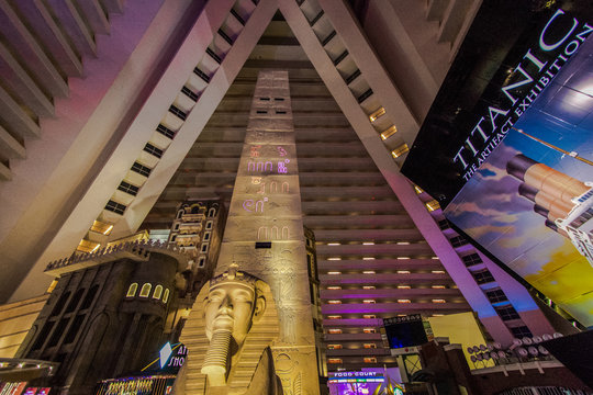 Las Vegas, Nevada, USA - May 6, 2019: The atrium at the Luxor Hotel in Las Vegas. The Luxor claims to have the largest atrium in the world