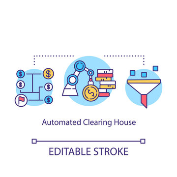 Automated Clearing House concept icon. Electronic network idea thin line illustration. Financial transaction. ACH credit transfer. Payment concept. Vector isolated outline drawing. Editable stroke
