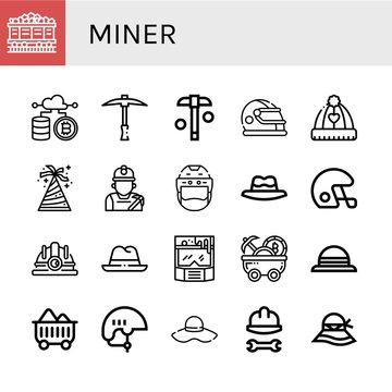 miner simple icons set