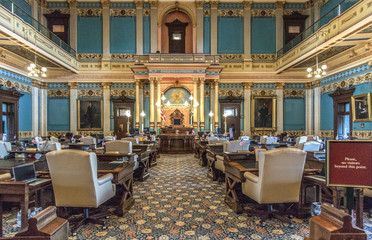Lansing, Michigan, USA - March 14, 2019: The Senate Chambers for the state of Michigan lawmakers at the capitol building in downtown Lansing.