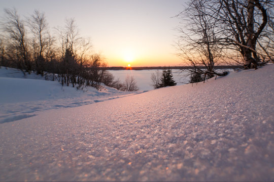 The concept of the winter solstice. Sparkling snow in the snowy forest and low sun over the horizon. Fabulous winter beauty.
