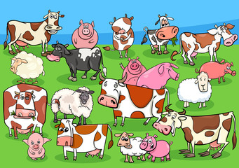 Fototapete - farm animals cartoon characters group on meadow