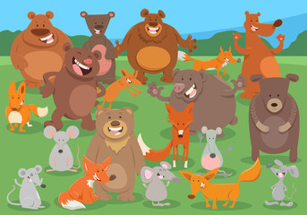 Fototapete - cartoon wild animal characters group