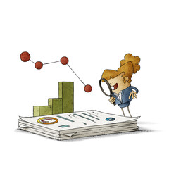 Business woman with a magnifying glass observes a large stack of reports, behind there are some graphs. isolated