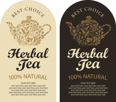 Set of two vector labels for a herbal tea with sketches, calligraphic inscriptions and place for text in retro style. Tea labels with teapot or kettle consisting of hand-drawn medicinal herbs.