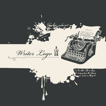 Vector banner with abstract black stains and calligraphic inscription Writer logo in retro style. Black and white artistic illustration with ink pen, blobs and splashes