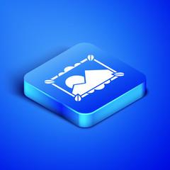 Photo sur Aluminium Bleu fonce Isometric Picture landscape icon isolated on blue background. Blue square button. Vector Illustration