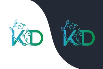 Green blue gradient wedding floral initial KD icon design. Vector logo template