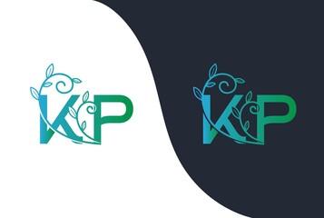 Obraz Green blue gradient wedding floral initial KP icon design. Vector logo template - fototapety do salonu