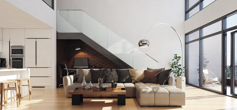 Modern living room in loft apartment, 3d render