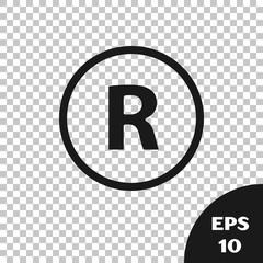 Black Registered Trademark icon isolated on transparent background. Vector Illustration