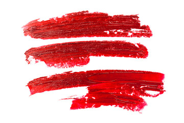 Smear of red lipstick. Cosmetics concept. Element isolated on white. Wall mural