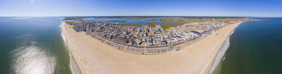 Hampton Beach panorama aerial view including historic waterfront buildings on Ocean Boulevard and Hampton Beach State Park, Town of Hampton, New Hampshire NH, USA.