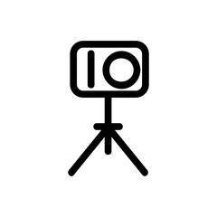 camera on a tripod vector icon. A thin line sign. Isolated contour symbol illustration