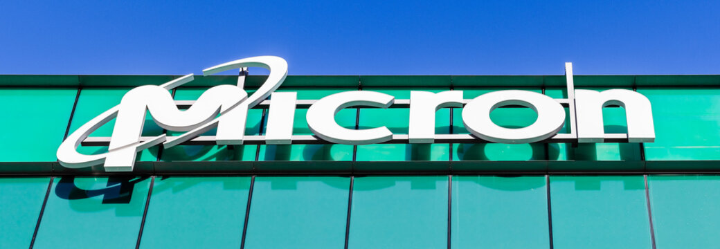 Dec 14, 2019 San Jose / CA / USA - Close up of Micron Logo at their headquarters in Silicon Valley; Micron Technology, Inc. is an American producer of computer memory and computer data storage