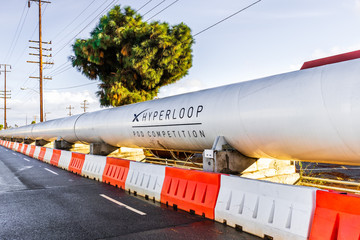 Dec 8, 2019 Hawthorne / Los Angeles / CA / USA - Hyperloop POD displayed at SpaceX (Space Exploration Technologies Corp.) headquarters; SpaceX is a private American aerospace manufacturer