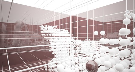 Abstract brown  interior from array white spheres with window. 3D illustration and rendering. Fotoväggar