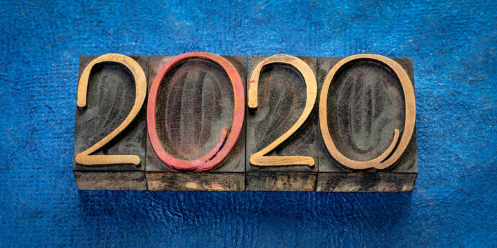 2020 in wood type - New Year greeting card or banner