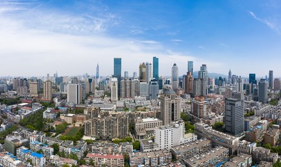 Skyline of Nanjing City in A Sunny Day Taken with A Drone