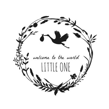 Welcome to the world little one. Stork illustration