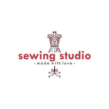 Tailor Sewing Vintage Logo Ideas, Mannequin Sewing Logo Ideas, Fashion Retro Simple Logo, Vector Design Template